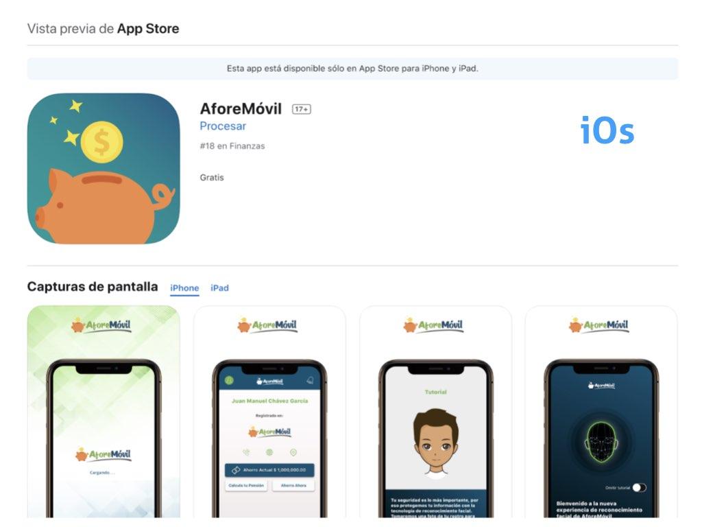 Desde iOs descarga la app AforeMóvil y toma el control de tu ahorro para el retiro